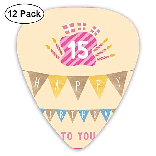 Guitar Picks 12-Pack,Pastel Colored Framework Flags Presents And Candles Greeting
