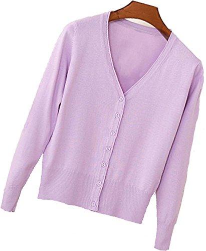 S.S Womens V-Neck Button Down Long Sleeve Crew Neck Soft Classic Basic Knit Cardigan Sweater (S-6X) (Large, Light - Antifreeze Purple