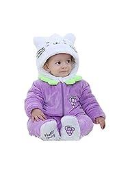XMiniLife Winter CuteToddler/Infant Hooded Romper,Purple Cat/100#(No Feet)