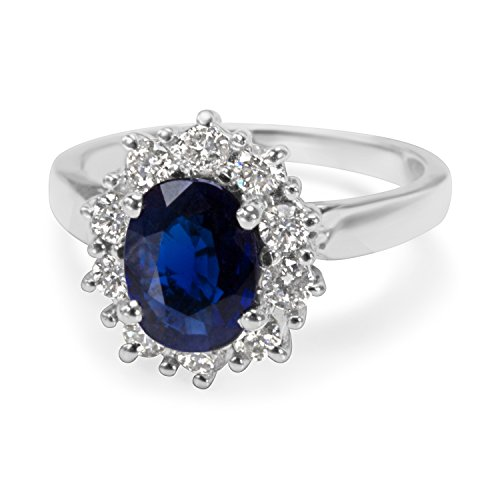 BRAND NEW Sapphire Center & Diamond Fashion Ring in 14K White Gold (0.50 CTW) by Loved Luxuries