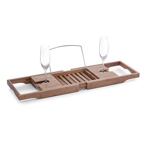 Zeller 13606 Badewannenablage, Bamboo/Metall verchromt 70 - 105 x 22 x 4 cm