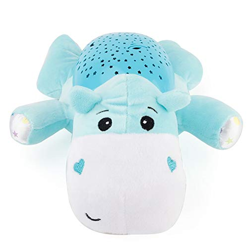 Blue KNOSSOS Kids Plush Dolls Toys Starry Star Projection Light Toys Projector with Music