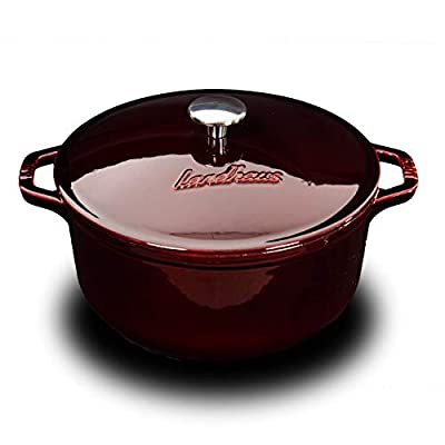 Landhaus Professional Enameled Cast Iron Cookware Dutch French Oven Braiser Sauce Pot and Fry Pan