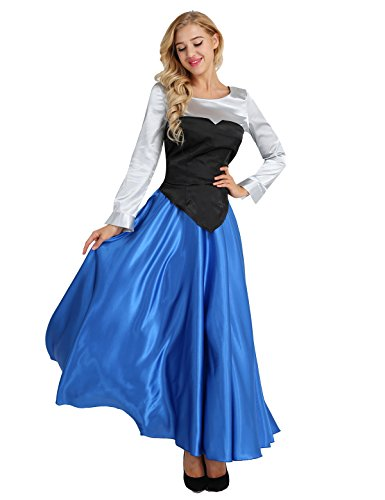 iEFiEL Women's Girls Satin Princess The Little Mermaid Ariel Cosplay Costumes Party Dress Ball Gown Outfit Colorful Medium -
