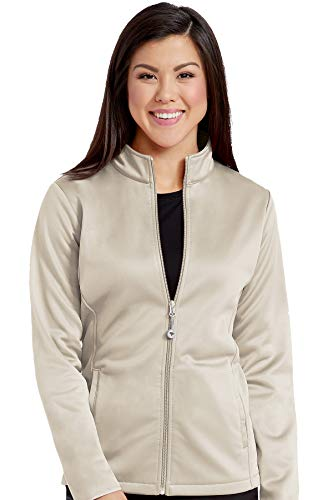 (Med Couture Zip Front Performance Fleece Scrub Jacket for Women, Khaki, Small)