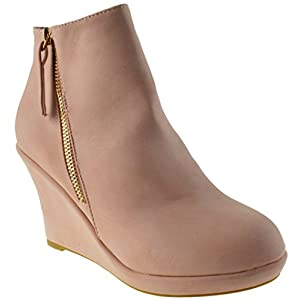 Top Moda Larise 1 Womens Zipper Platform Wedge Ankle Boots Blush 7