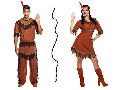 [Couple Adult Red Indian Costume Party Set - Male and Female Fancy Dress by Bargains 4 Ever] (The Shining Couple Costume)