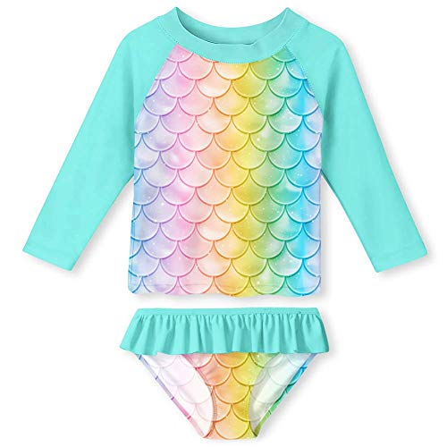 Toddler Girls Tankini Sun Suits Size 2 All Over Print Fish Scales UV Protection Rash Guard Swimsuit Set Full Coverage Shirt and Breathable Bikini Bottom