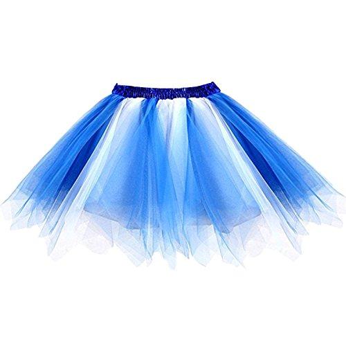 Ellames Women's Vintage 1950s Tutu Petticoat Ballet Bubble Dance Skirt Blue-White (1950s Dance Costume)
