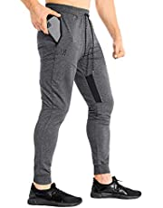 ZENWILL Mens Tapered GymJoggers,Fitness Pants CasualWorkout Track Pantswith Zip Pockets