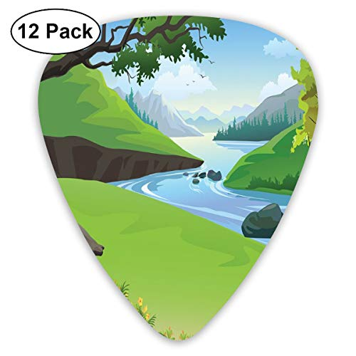 Woodland Nylon Parka - Guitar Picks - Abstract Art Colorful Designs,Lake View In National Park In The Woodland Forest In Summer Cartoon,Unique Guitar Gift,For Bass Electric & Acoustic Guitars-12 Pack