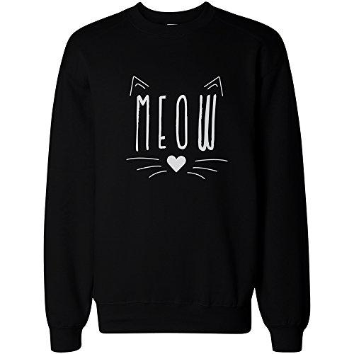 Meow Cute Kitty face Women's Sweatshirt Crewneck Pullover Fleece Cat Lovers