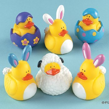 Fun Express Easter Rubber Ducky Party Favors - 12 Pieces