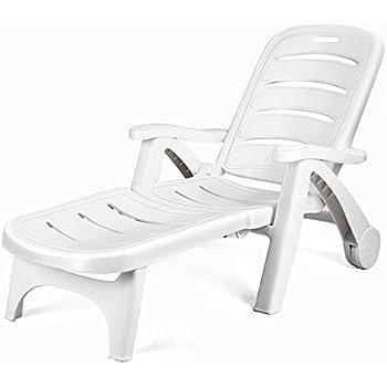 Amazon Com Kettler Roma Folding Lounger In White Resin