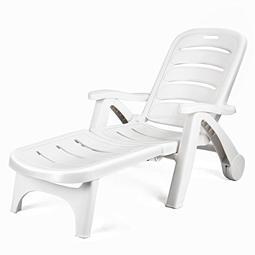 Giantex Folding Lounger Chaise Chair on Wheels Outdoor Patio Deck Chair Adjustable Rolling Lounger 5 Position Recliner w/Armrests, White (Pool White Chairs)