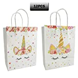 Unicorn Party Favors Bags Magical Unicorn Glitter Bags Paper Handles Gift Bags for Kids Girls Magical Birthday Party Supplies Set of 12