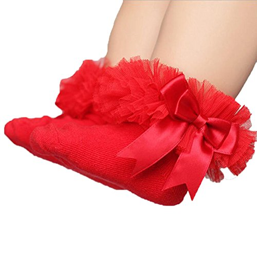 Black And Red Ruffle Socks - ONE'S Newborn Infant Baby Girls Princess Bowknot Lace Ruffle Frilly Trim Ankle Sock (0-2 Years, Red)