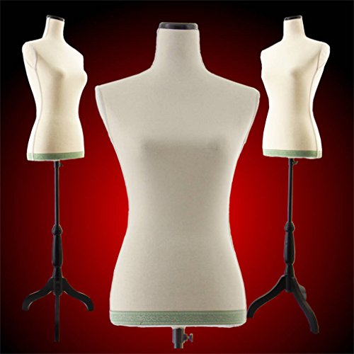 Female White Linen-like fabric Mannequin Dress Form (On Black Tripod Stand)