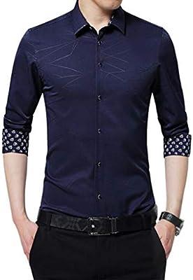 QJXSAN Camisa de Hombre Manga Larga A Rayas Delgado Casual Adolescente Primavera y otoño Moda Joker Camisa Suéter Traje Banquete Boda (Color : Blue, Size : XXXXXL): Amazon.es: Hogar