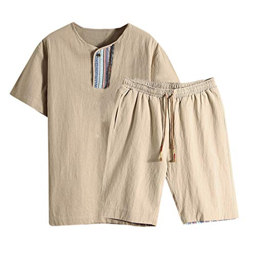 - 2019 Loungewear for Men,NEWONESUN Mens Pjs Short Sleeve Cotton T-Shirt Shorts Suit Two Piece Outfit Summer Khaki