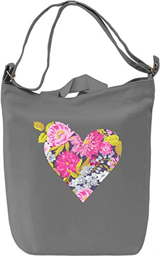Floral heart Borsa Giornaliera Canvas Canvas Day Bag| 100% Premium Cotton Canvas| DTG Printing|