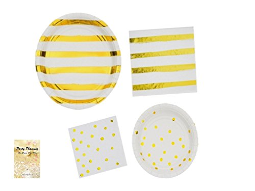 White & Gold Party Supplies, Dot & Stripe Design, Great for Bachelorette Party, Wedding, Engagement, Anniversary, Bundle of 4 Items: Dinner Plates, Dessert Plates, Lunch Napkins and Beverage Napkins - Paris Dessert Plate