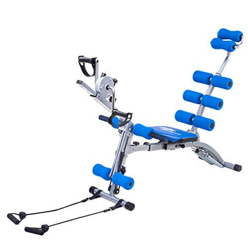 Goplus 6 in 1 Multi-functional Trainer Twister AB Rocket Abdominal Core Exerciser Adjustable Incline Decline Bench Stepper (Blue)