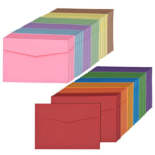 Bememo 60 Pieces Mini Envelopes Multi Color Cute Lovely Envelopes (4.6 x 3.2 Inch) for Gift Card Wedding, Birthday Party Supplies