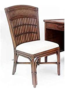 Rattan U0026 Bamboo Desk Chair In Antique Finish (Linen Taupe)