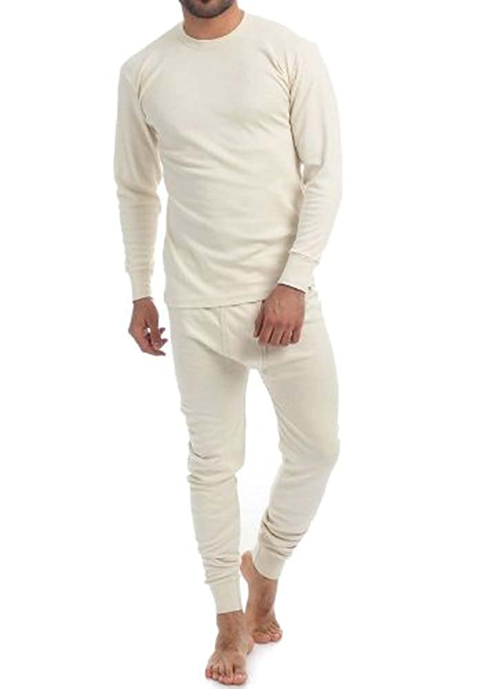 Uomo, termici, colore: panna, 2 pezzi, 100% puro cotone, 240 g/mq, maniche lunghe e calzamaglia, 1190 & 1290) 1190&1290