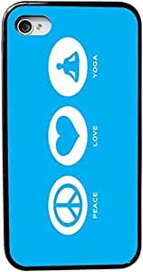 Rikki KnightTM Peace Love Yoga Sky Blue Design iPhone 4 & 4s Case Cover (Black Rubber with bumper protection) for Apple iPhone 4 & 4s