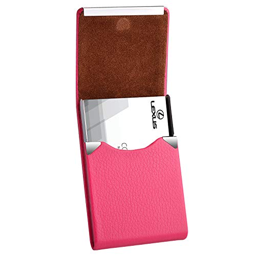 MaxGear Leather Business Card Holder for Women Leather Stainless Steel Business Card Case with Magnetic Shut Rose Red