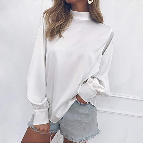 Femmes Blouse Chemisier Tops Blanc Casual Mousseline Manchon Col AIMEE7 Chic Lanterne Haut x5XvqWd