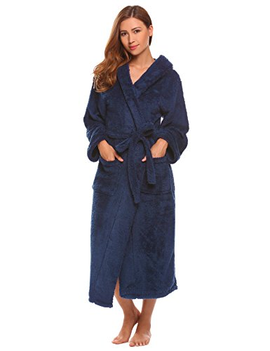 79d58f4f0a L amore Women s Fleece Bathrobe with Hood Plush Warm Spa Robes Soft  Sleeping Robe