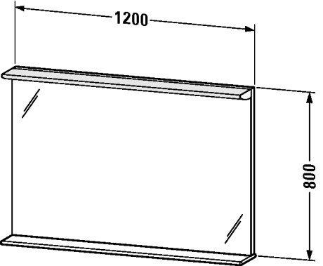 Duravit DN727801818 Mirror 1200 28 W with shelf 1200 x 170 x