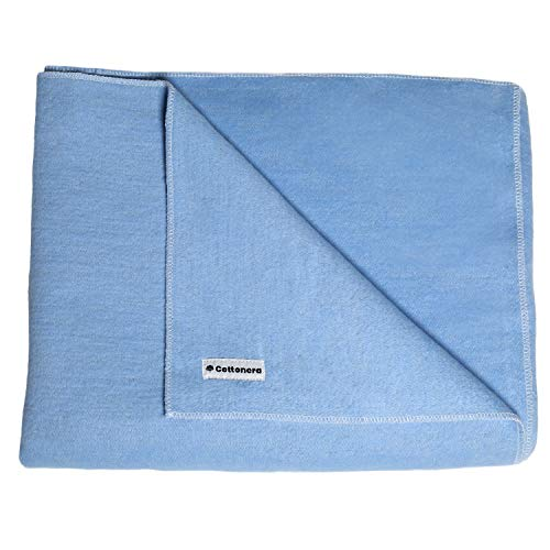 100% Cotton Flannel Receiving Baby Blanket Blue for Boys 39x