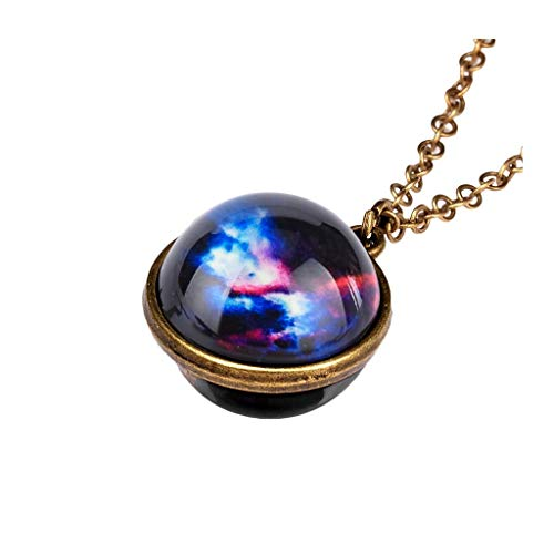 JoCome✨ Planet Necklace, Galaxy System Double Sided Glass Dome Glow in The Dark Star Necklace Pendant (A)