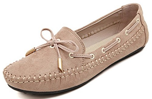 Women's Round Toe Flat Loafers Sweet Casual Shoes with Bow Beige - 5