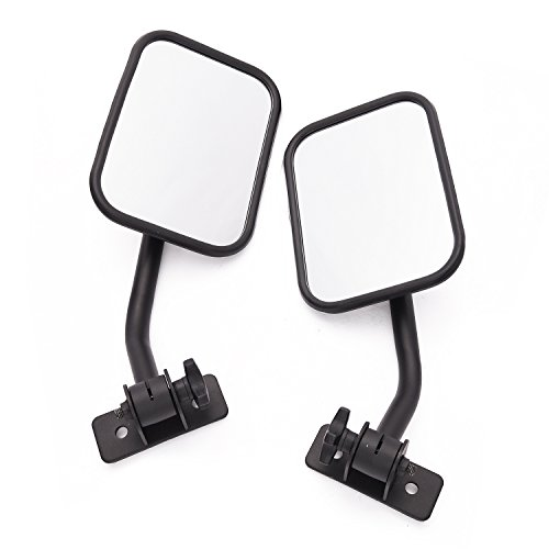 MICTUNING Side Mirrors with Anti-Slip Mount Bracket, Adjustable for 1997-2018 Jeep Wrangler TJ JK LJ - 1 Pair, Textured -