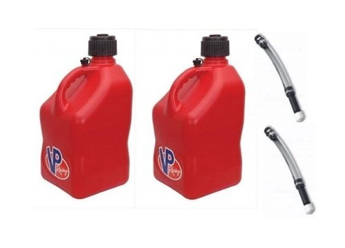 2 Pack VP 5 Gallon Square Red Racing Utility Jugs with 2 Deluxe Filler Hoses (Fuel Racing)