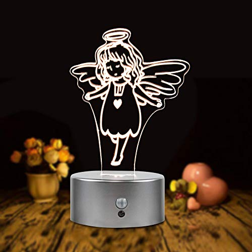 DEEPLITE Night Light for Kids Motion Sensor Battery Powered Light Angel Shade, Cordless Acrylic Light Portable for Bedroom, Bathroom, Hallway, Kitchen, Small Desk Lamp for Table Decor ()