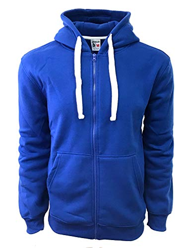 Henry & William Men's Basic Heavyweight Full Zip UP Fleece Hoodie Jacket (Size S to 6XL) (2X, Royal Blue)