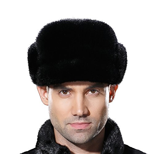 URSFUR Mne's Winter Fur Cap Genuine Mink Fur Fudd Hat Black S