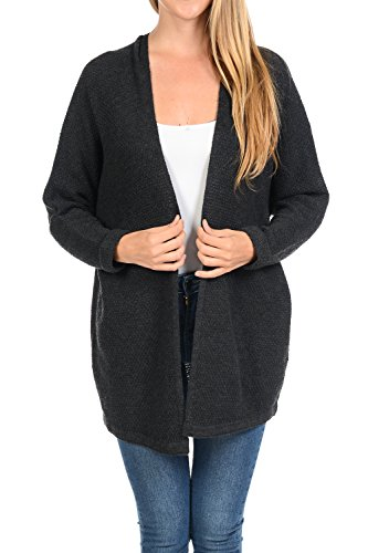 Auliné Collection Women's Casual Open Front Loose Drape Knit Cardigan Sweater Charcoal S/M