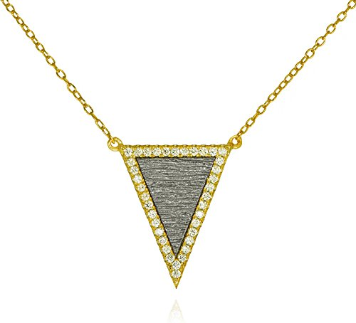 - Triangle Inlay CZ Pendant Necklace .925 Sterling Silver Gold Tone Chic Textured Oxidized Silver