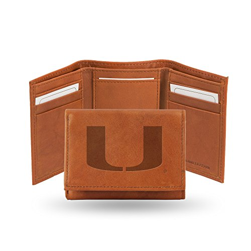 Ncaa Miami Hurricanes Canes - Rico Industries NCAA Miami Hurricanes Embossed Leather Trifold Wallet, Tan