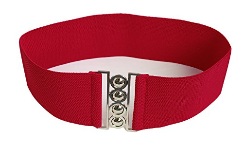 "Modeway Women 3""Fashion Wide Belt Elastic Stretch Waist Belt , Metal Buckle Waistband (XL-XXL,Red)A1-3"