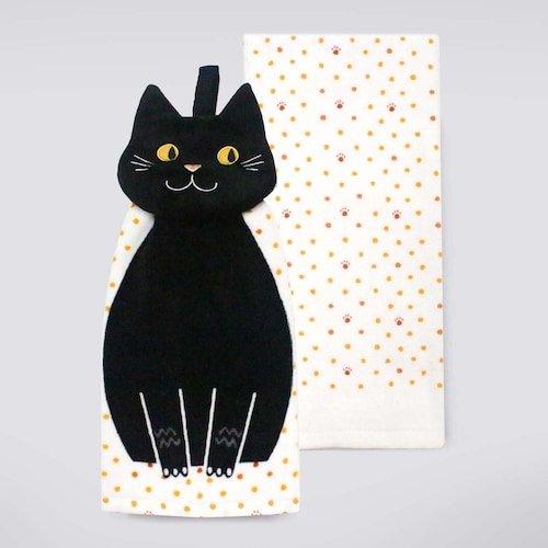 Halloween 2-Pack Kitchen Dish Towels Set - Velvet Black Cat Face Tie -