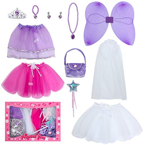 fedio 12Pcs Girls Princess Fairy Bride Dress up Tutu Costume Set Fairy Wings,Tutus,Bride Veil,Tiara Crown,Wand,Princess Purse Kids Age 3-6 Years(Purple-Princess&Fairy&Bride)