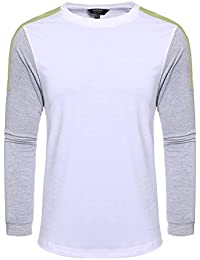 "<span class=""a-offscreen"">[Sponsored]</span>Men's Contrast Color Stitching Crew Neck Long Sleeve Basic T-shirt"